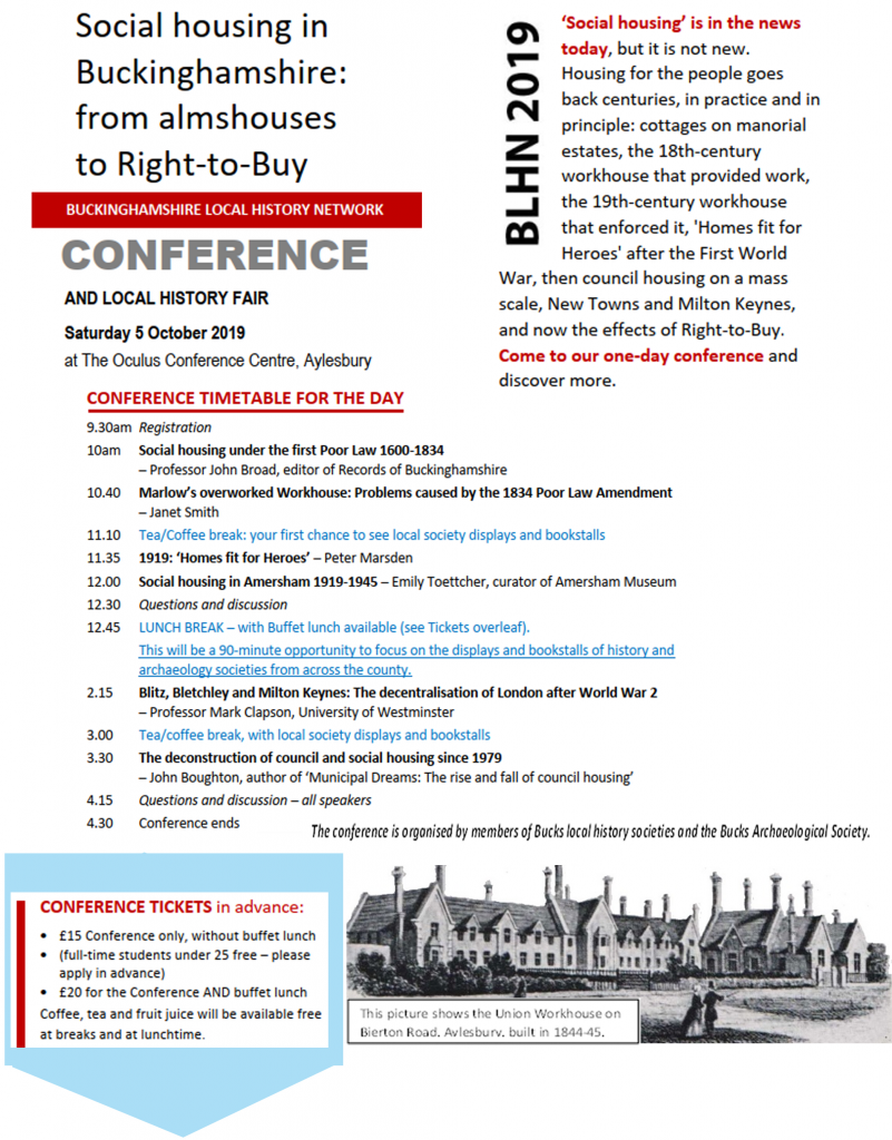 Bucks Local History Network Conference and Fair - Oct 2019