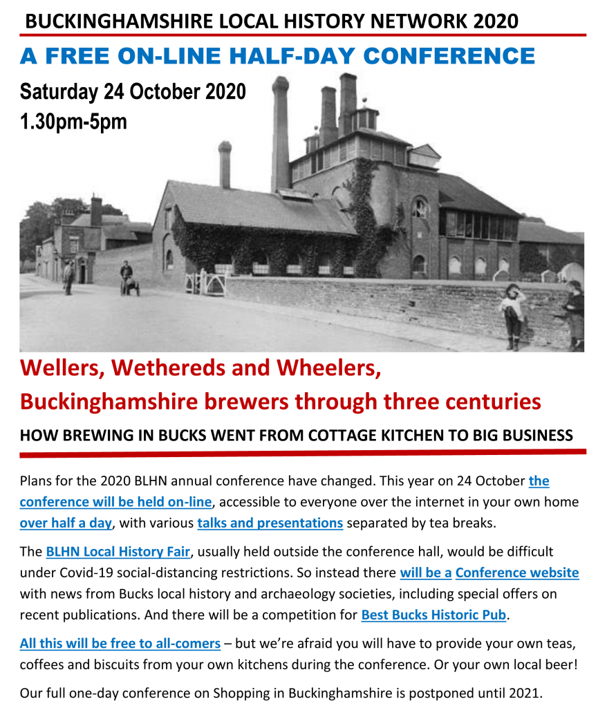 Advance details of BLHN Conference On-line 24 Oct 2020